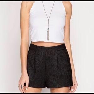 Textured Black Shorts